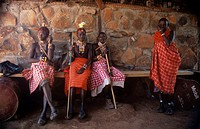 Medical clinic. Young Samburu people, in a remote rural region of Kenya, waiting for health checks at a medical clinic. Photographed as part of work b...