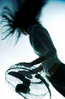 Strong wind from the fan blowing woman´s hair.