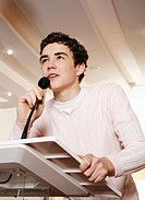 Boy giving speech