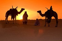 Sunset at desert. Libya