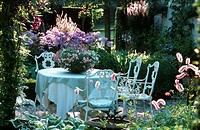 terrace, garden, table, chairs, symbol, romantic, charming, flowers, leisure, flowerpot, daytime, summer, sunshine, co