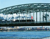 North-Westphalia, Cologne, (Germany). Train on the Hohenzollern bridge