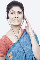 Portrait of a young woman wearing a headset