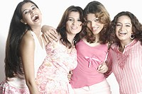 Portrait of four young women smiling (thumbnail)