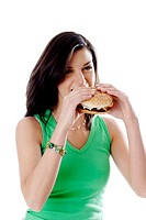 Woman eating burger (thumbnail)