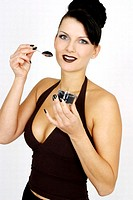Woman eating caviar