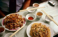 A plate of noodles in a restaurant in Macau, the former Portuguese colony. China.