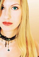 Close-up picture of woman wearing choker