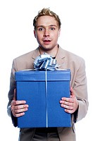 Man holding a big box of present