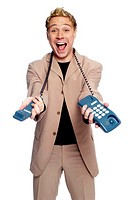 Businessman holding a telephone