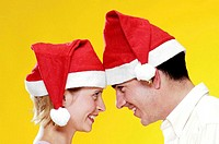 Couple in christmas hats
