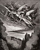 Engraving by Gustave Dore (1832-1883), French artist and illustrator: Paradise Lost by John Milton (Book I, lines 344 and 345)