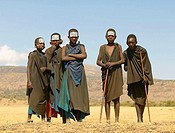 Young Masai boys looking tough. Tanzania