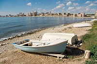 Boats on Muchavista beach. Campello, Alicante province, Spain