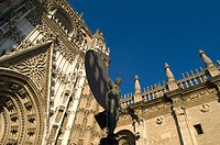 Detail on facade, cathedral. Sevilla. Spain