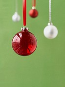 Red and white Christmas ornaments (thumbnail)