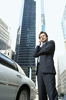 Executive next to his limousine (thumbnail)