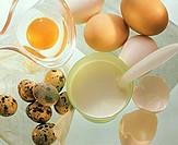 Whole eggs, a broken egg, quail´s eggs & a beaker of milk