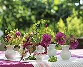 Five vases of dahlias, dill and Amaranthus