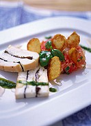Truffled Taleggio, honey tomatoes & Jerusalem artichoke crisps
