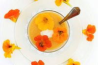 Gazpacho with nasturtium flowers