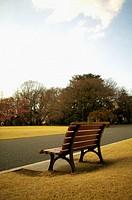 Park bench near path