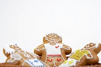 Three gingerbread people, elevated view