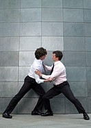 Two businessmen fighting, side view
