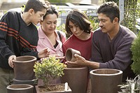 Group of people looking at flower pots in a plant nursery