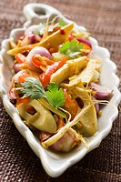 Bamboo shoots with peppers, enoki mushrooms & coriander leaves