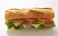 Baguette with ham, cheese, tomato, cucumber and lettuce (thumbnail)