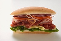Salami, ham, cheese and salad sandwich