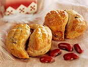 Pogatschen with red beans (small yeast pastry from Hungary)