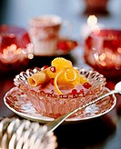 Red wine mousse with oranges and wafer rolls