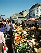 Lively market scene at the Naschmarkt in Vienna