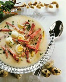 Easter soup with schinkenspeck and quail´s eggs