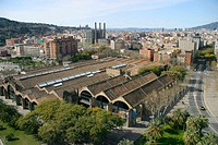 Drassanes (Old dockyards). Gothic style, XIIIth century. Maritime Museum. Passeig Josep Carner façade. Poble Sec in background. Barcelona. Catalonia. ...