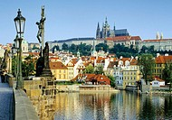 Prague Castle and Vltava River in Prague, Czech Republic
