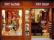 Art glass on window display Old Town in Prague, Czech Republic
