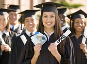 Group of college graduates with credit cards and diploma, portrait