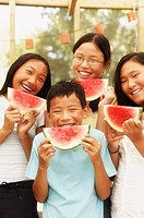 Four kids with watermelon