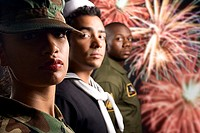 Soldiers and fireworks