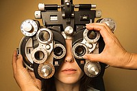 Woman having her eye sight checked