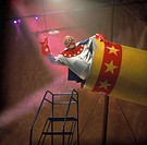 Human cannonball circus act preparing to launch