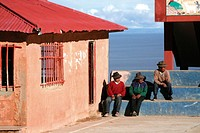 Men on Isla Amantani, Lake Titicaca, Peru