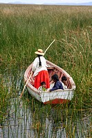 Boat near Uros Islands, Lake Titicaca