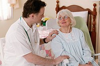 Woman with healthcare worker