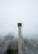 Airport control tower, blurred