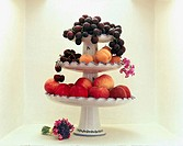 White porcelain fruit display