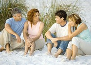 Two mature couples sitting on beach, talking